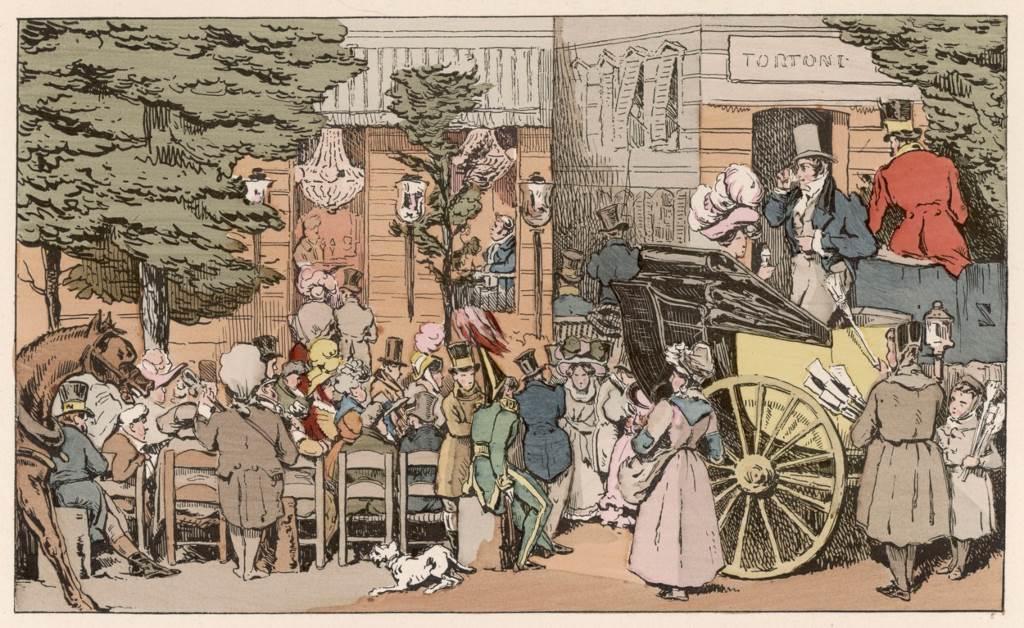 Author: Rights Managed Kafić Tortoni, u ulici Taitbout u Parizu, oko 1820-te, gde se kočije zaustavljaju kako bi dame konzumirale sladoled, dok ostali uživaju na terasi.