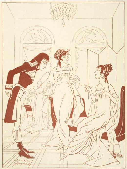 Žozefina de Boarne jede sladoled dok joj prijateljica predstavlja mladog oficira Napoleona Bonapartu, oko 1795. godine, izvor: Pierre Payen in 'L'Amour et l'Esprit Gaulois', tom 3 strana 369