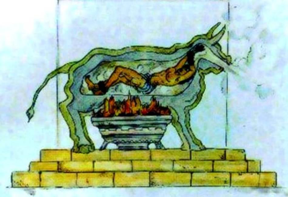 Zavareni bik – mesingana životinja u prirodnoj veličini, šuplja iznutra. U nju bi se ubacivao osuđenik na mučenje ili smrt (prethodno bi mu obično odsekli jezik), a onda bi se otvor dobro zatvarao i ispod bika bi se podložila vatra.