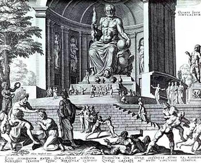 Statua Zevsa u Olimpiji prema crtežu Martina Hemskerka.