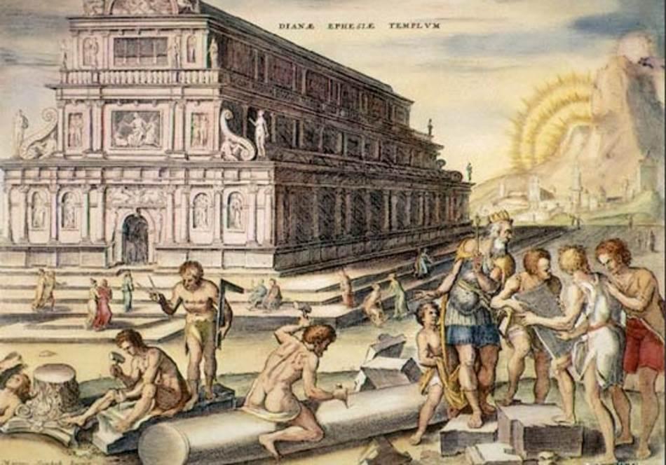 Artemidin hram ručno bojenoj graviri Martina Hemskerka