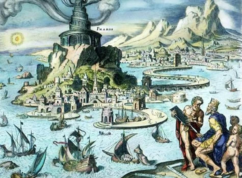 Faros u Aleksandriji na ručno bojenoj graviri Martina Hemskerka