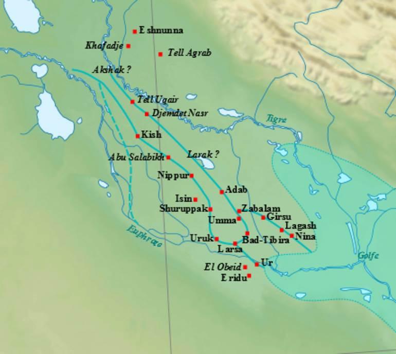 Mapa glavnih gradova Donje Mesopotamije tokom ranog dinastičkog perioda, sa približnim tokom reka i drevnom obalom zaliva.
