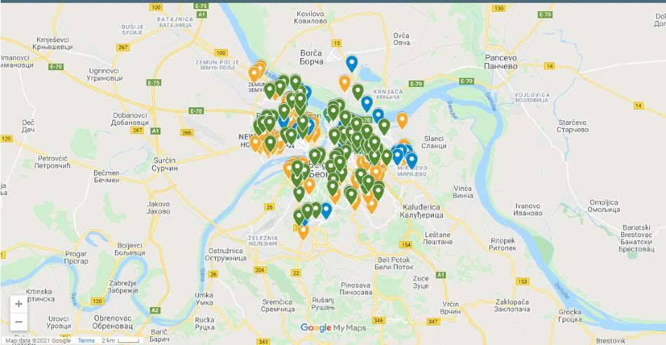 Mapa lokacija reciklažnih ostrva u Beogradu