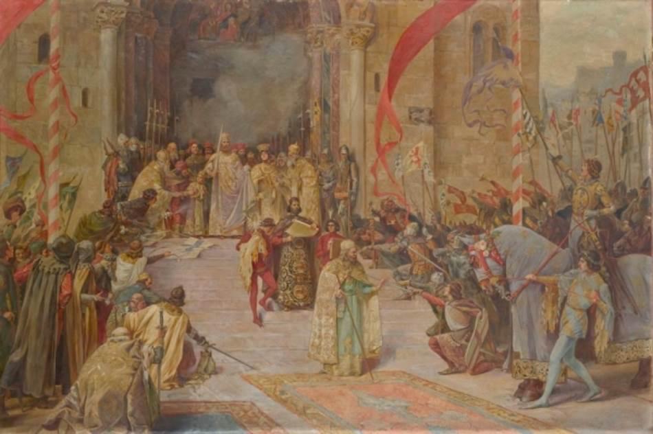 Proglašenje Dušanovog zakonika, Paja Jovanović (Muzej grada Beograda) Na ovoj predstavi Paja Jovanović slikao je onovremene istorijske ličnosti, a prema njegovoj skici sa potpisima vitez Braht je prvi vitez s leva (na stepeništu)