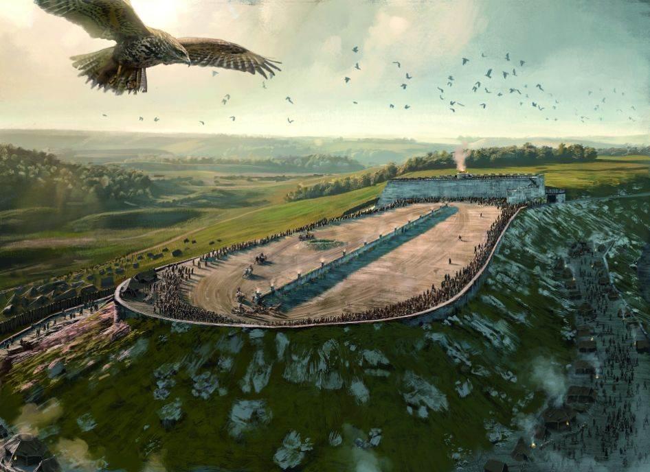 IZGRADNJA MESTA ZA OBREDE Kelte su inspirisali njihovi susedi južno od Alpa ne samo u umetnosti nego i u nekim običajima koji pokazuju etrurske i grčke uticaje. Nekoliko kilometara od Hojneburga Kelti su poravnali vrh brega. Arheolozi pretpostavljaju da su taj plato koristili za svete ceremonije i trke dvokolica.