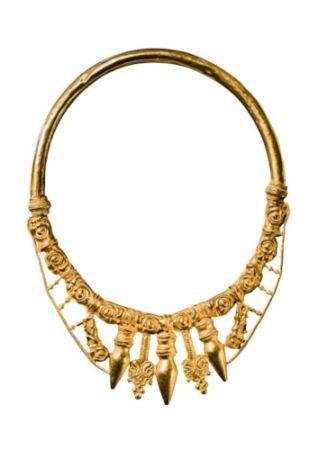 Kneževsko blago Arheolozi su pronašli zlatnu ogrlicu sa ukrasima u obliku pupoljaka u prvoj od dve grobne humke u kojima su počivali vladari. Nakit pokazuje izvanrednu zanatsku veštinu Kelta.