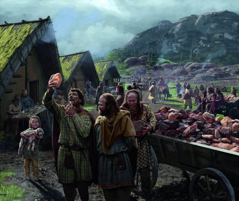 TRGOVANJE NADALEKO I NAŠIROKO Zanatlije rade izvan svojih domova dok deca i kola prenose tešku so iz rudnika, a dva čoveka pregovaraju o njenoj vrednosti. Kelti su obično trgovali nadaleko i uvozili robu iz južne Evrope, između ostalog etrursku i grčku grnčariju, kao i vino iz rimskih provincija u Francuskoj. To je pogodovalo ne samo elitama nego i zanatlijama koje su uvele mediteranske oblike i dizajn u keltsku umetnost.