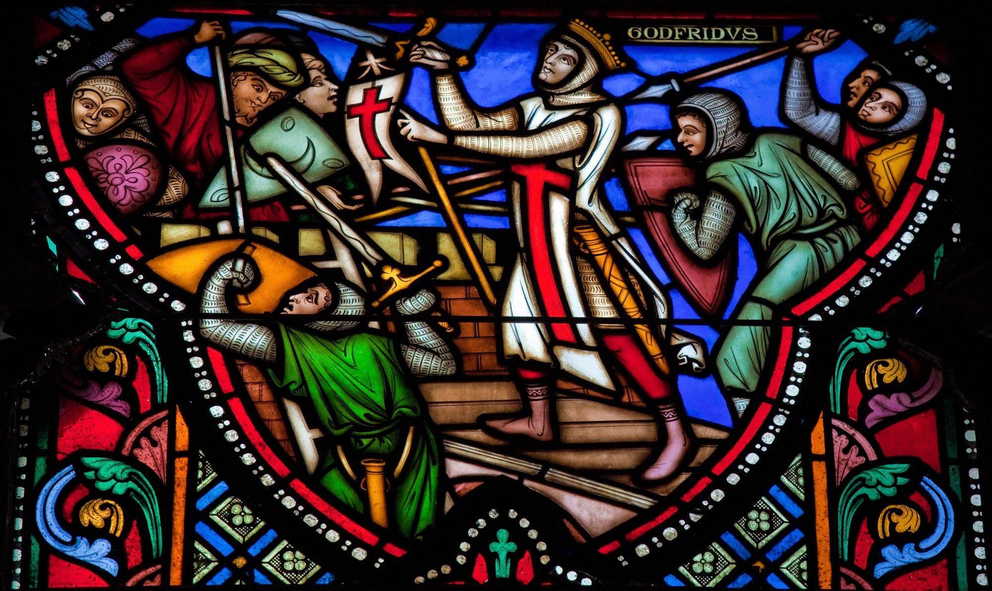 Vitraž koji prikazuje prvog krstaškog kralja Godfija Bujonskog tokom opsade Jerusalima
