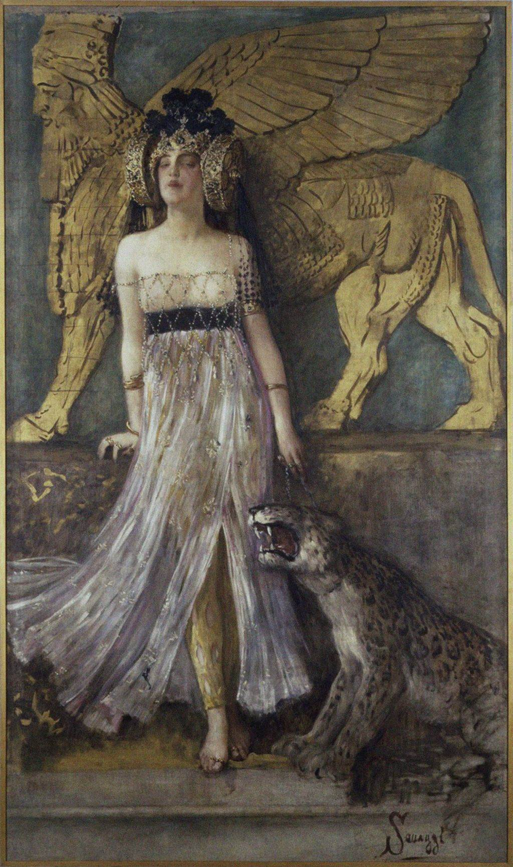 Kraljica Semiramida, 1905, delo slikara Čezara Sakađija iz Tortone