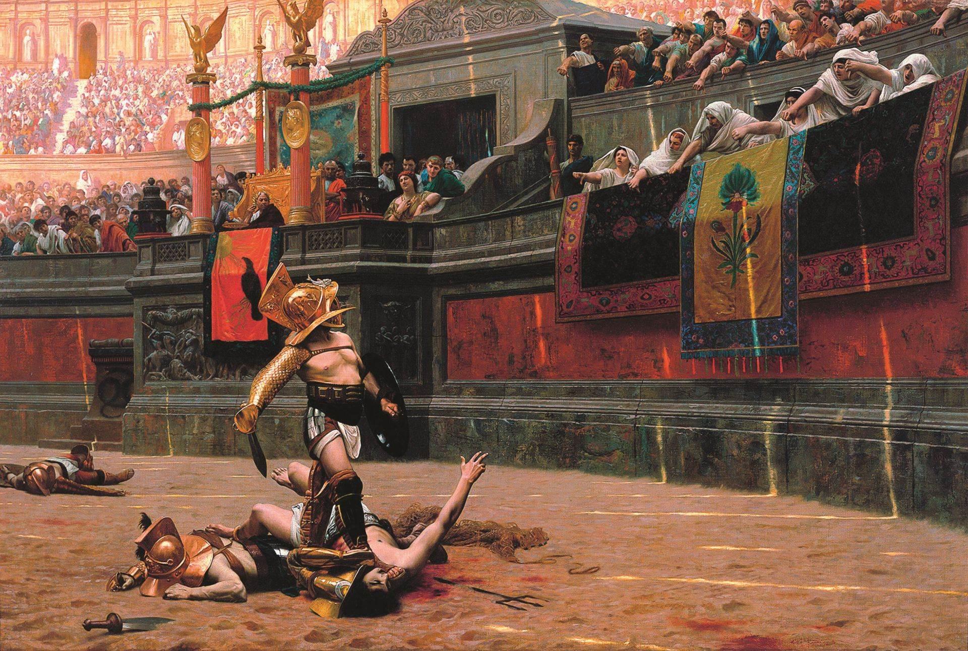 Stručnjaci raspravljaju da li je - palac dole - pokret koji od pobednika traži da dokrajči protivnika, kao što je prikazano na slici.