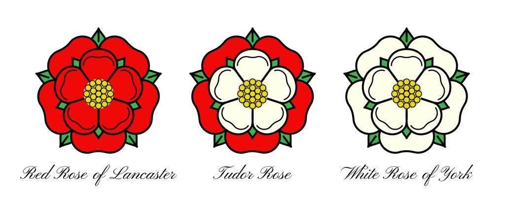 Crvena ruža Lankastera; Tjudorska ruža; i Bela ruža dinastije Jork.