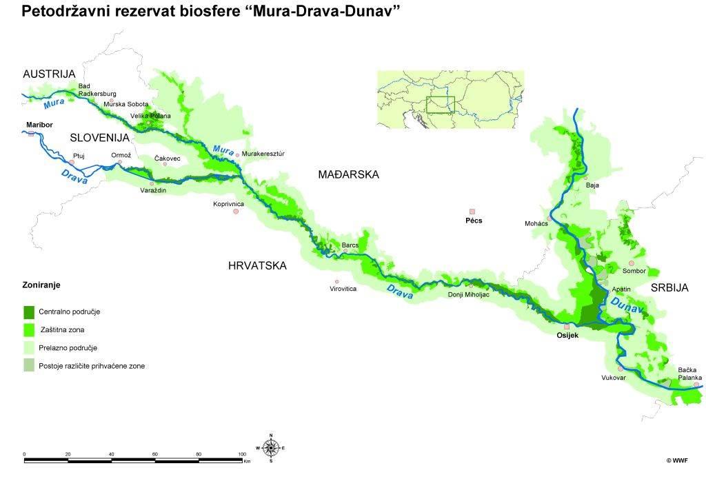 Zone zaštite u okviru Petodržavnog rezervata biosfere Mura-Drava-Dunav