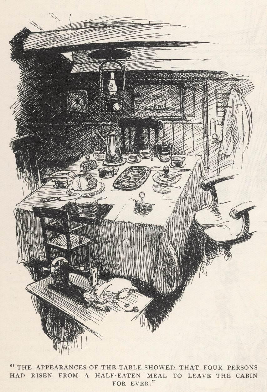 Kabina napuštenog broda kakvu je navodno pronašao kapetan 'Dei Gratia'; Neimenovani umetnik u časopisu Strand, jul 1913. strana 54